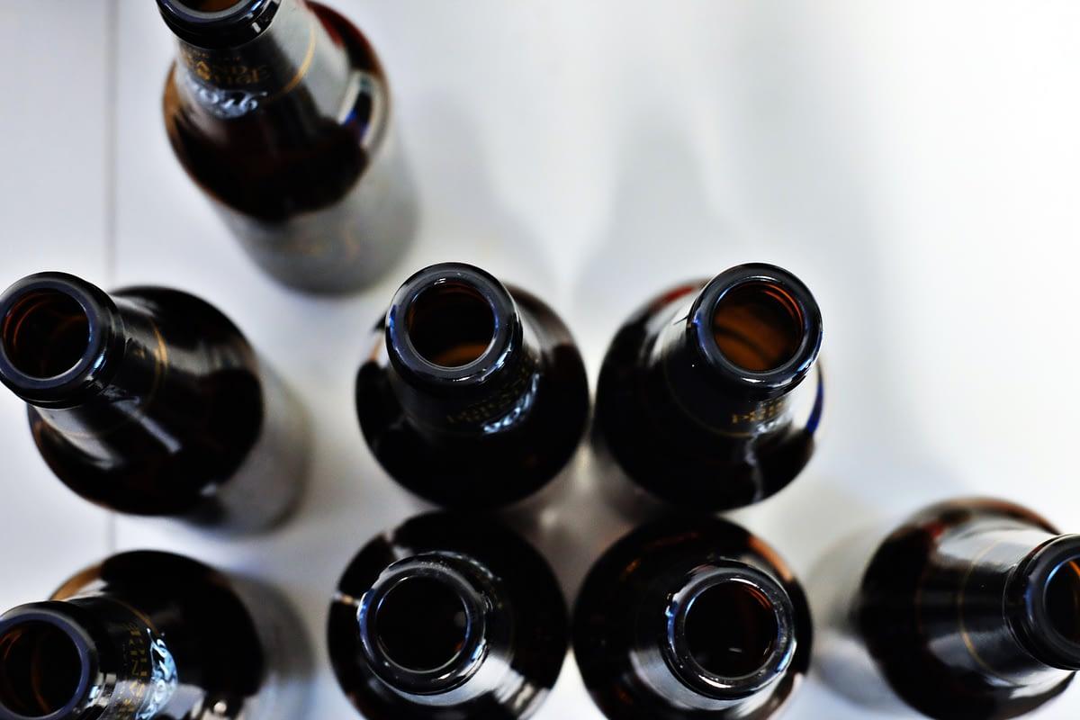 black bottles of beer
